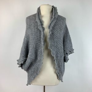 Moth Rocia Ruffle Knit Cocoon Grey Sweater